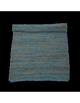 Vloerkleed geknoopt jute  met leer turquoise
