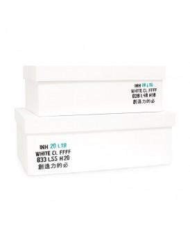 HK Living set 2 witte houten kisten