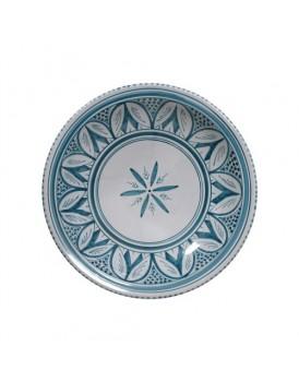 HK Living aardewerk souk schaal grijs blauw