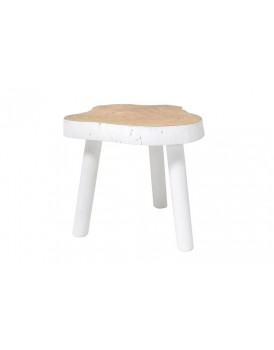 HK Living mangohouten tafeltje krukje wit