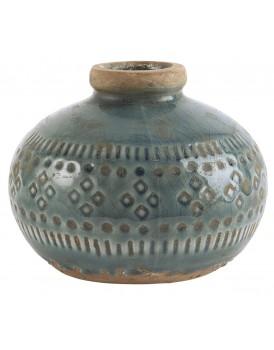 Ib Laursen aardewerk vaasje rond blauw