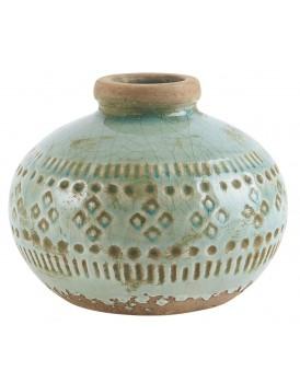 Ib Laursen aardewerk vaasje rond aqua groen