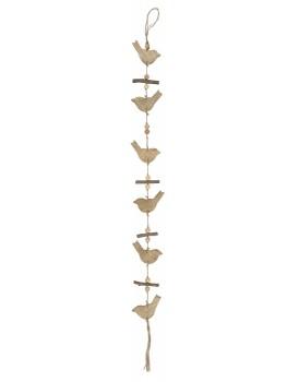 Ib Laursen jute hanger met houten vogeltjes naturel