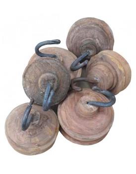 Kapstokhaak rond met houten voet