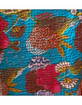 Indiase plaid bloemen turquoise