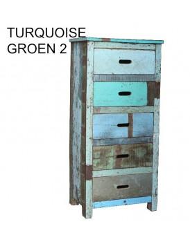 Sloophouten 5 laden kast turquoise groen