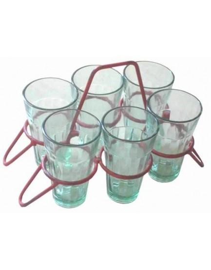 6 glazen in stalen rekje