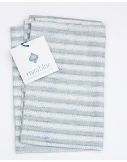 Rozablue theedoek funky stripes sky grey