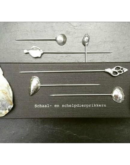 Set van 6 Zeeuwse schelpenprikkers