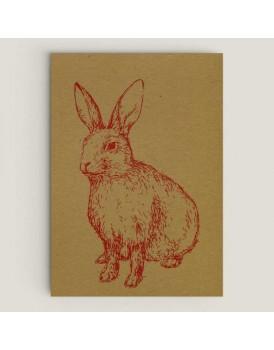 Wenskaart konijn hout