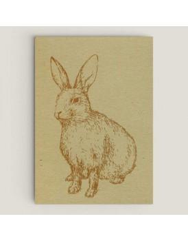 Wenskaart konijn linnen