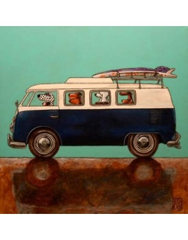 Postkaart Edart VW bus surfdudes