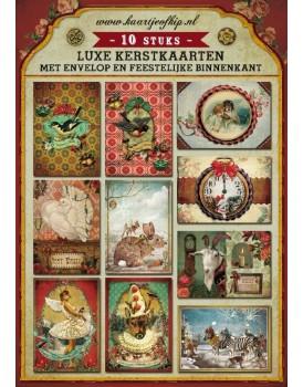 Set 10 wenskaarten kerst Kaartje of kip
