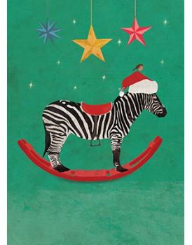 Wenskaart kerst Carrie May zebra