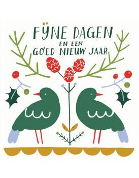 Wenskaart kerst vogels
