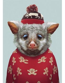 Wenskaart kerst opossum