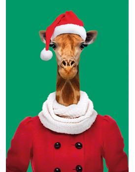 Wenskaart kerst giraffe