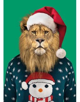 Wenskaart kerst leeuw