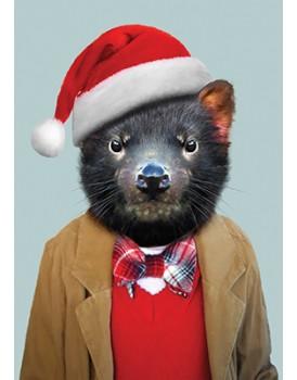 Wenskaart kerst tasmaanse duivel