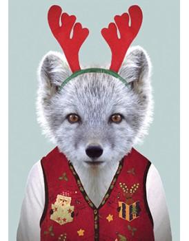Wenskaart kerst vos
