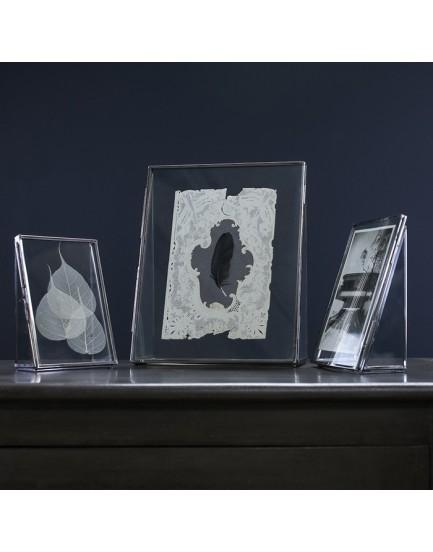 Nkuku dubbelglas fotolijst staand zilver L
