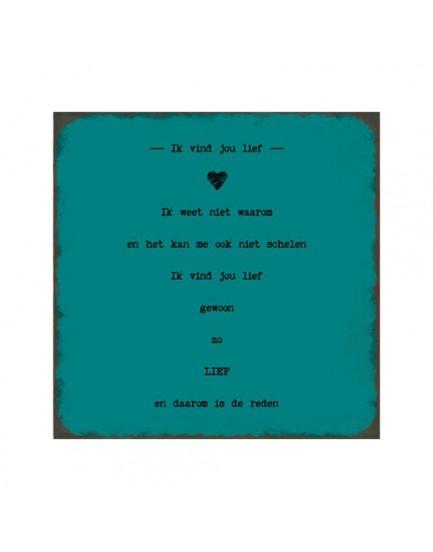 Tekstbord lief turquoise