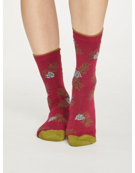 Thought bamboo damessokken christmas foliage red