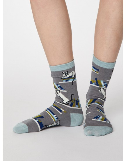 Thought damessokken bamboo cat grey