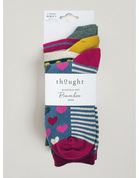 Thought bamboo damessokken giftset hearts and stripes